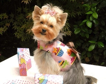 Dog Harness, Pink Cupcake with Bling