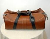 Vinyl sports bag gym bag duffle bag Nagahyde brown black hipster vegan carry on zipped bag