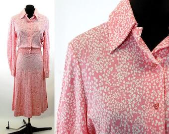 Diane Von Furstenburg dress 1970s knit two piece set pink white Size 8