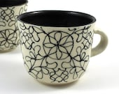 Handmade Tea Cup with Black Loops and Spirals