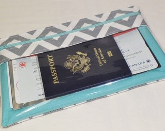 Travel Wallet - Long Travel Wallet - Passport Wallet - Travel Document Holder - Clear View Wallet - Zipper Travel Wallet