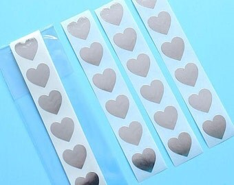 "3/4"" Silver Heart Stickers, Silver Heart Seals, Silver Stickers, Silver Seals, Goodie Bag Seals, Heart Favor Bag Seals, Heart Envelope Seals"