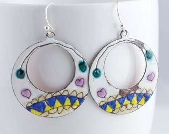 Yellow, Blue and Pink Zig Zag Heart Enamel Hoop Earrings - OOAK