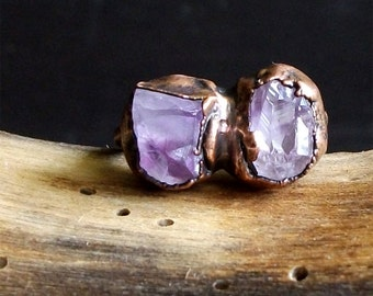 Raw Amethyst Copper Ring Rough Stone Jewelry Raw Crystal Dual Stone Size 5.5 Midwest Alchemy Ring February Birthstone Gemstone Ring