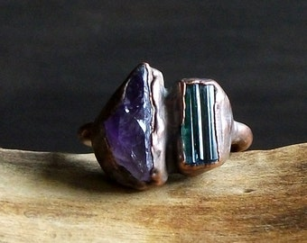 Tourmaline Ring Amethyst Raw Crystal Ring Size 6 Midwest Alchemy Dual Stone Gemstone Copper Jewelry Natural Birthstone Ring