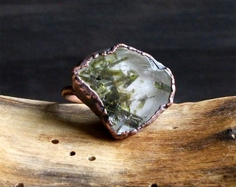 Raw Quartz Crystal Ring Epidote Ring Copper Natural Stone Ring Gemstone Jewelry Size 8