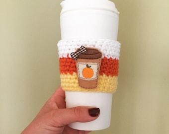 FREE SHIPPING , pumpkin spice latte crochet cozy, coffee sleeve,teacher gift, autumn coffee cozy, fall coffee cozy, candy corn cozy