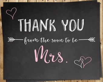 Bridal Shower Thank You Cards, Pink, Chalkboard, Wedding, Gray, Future Mrs, Set of 24 Folding Notes, FREE Ship, MRSPK, Soon to be Mrs Pink