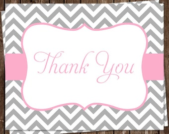 Thank You Cards, Chevron Stripes, Pink, Gray, White, Chevron, Bridal, Baby, Wedding, Shower, Set of 24 Folding Notes, FREE Shipping, STLOP