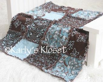 Baby Quilt, Newborn Prop, Blue & Brown Quilt, Newborn Rag Quilt, Baby Girl Props, Newborn Photography Props, Layering Blanket Prop