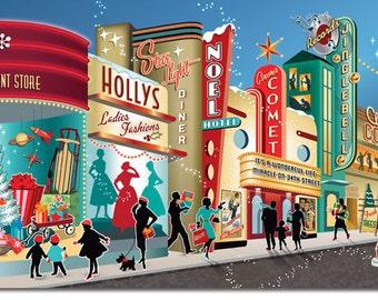 Vintage Main Street Christmas Cards, 8 cards + color env.   Vintage Christmas Cards   Mid Century Christmas Cards   Retro Christmas Cards