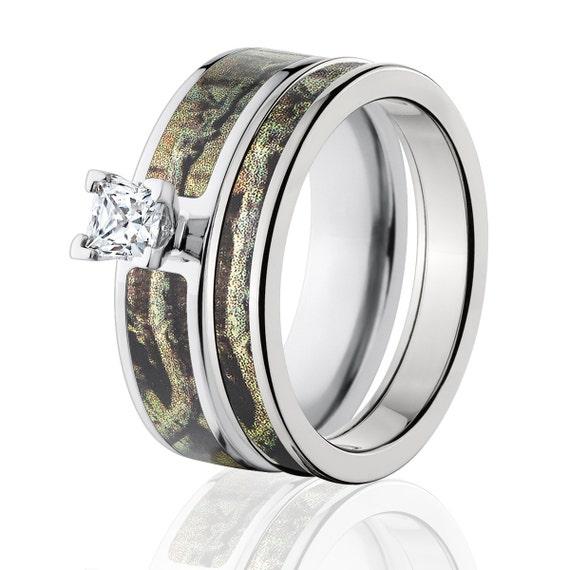 Titanium Camo Bridal Set With Mossy Oak By RenaissanceJewelry