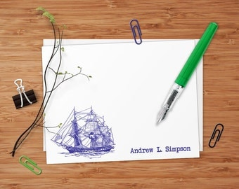 Vintage Ship - Set of 8 CUSTOM Personalized Flat Note Cards/ Stationery