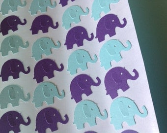 50 pc Paper Elephant stickers Purple and Teal  Wedding Reception    Shower