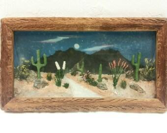Vintage 40s Arizona Diorama Souvenir Shadowbox Wall Hanging