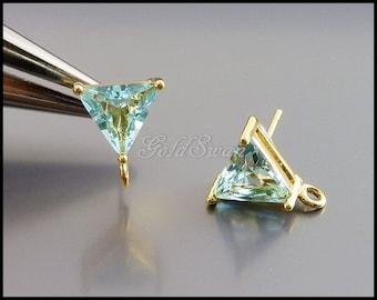 2 aqua blue / aquamarine blue glass stone earrings, glass crystal earrings DIY bridal / bridesmaid earrings 5138G-AQ