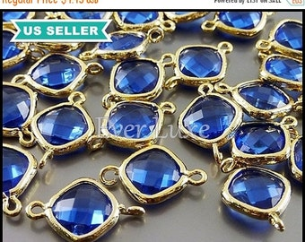 15% OFF 2 cobalt blue color glass connectors, blue & gold glass crystal, jewelry supplies 5063G-CO