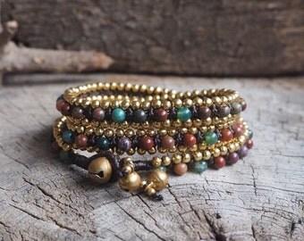 Ocean Jasper Triple Wrap Brass Bracelet