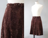 Velvet brown skirt | 1970's by Cubevintage | small to medium