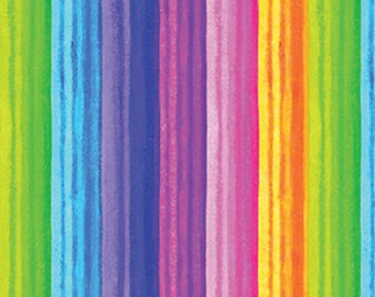 Benartex Fabrics...Let's Party Collection Assorted RAINBOW STRIPE...New