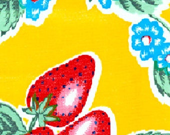 Yellow Strawberry Oilcloth Fabric