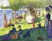 """Original pen and watercolour painting - """"Seurat meets Miyazaki"""""""