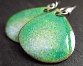 Green blue enamel earrings, enamel on copper, water droplet shape earrings, copper enamel jewelry, torch enamel jewelry, drop earrings