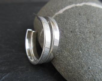 Sterling silver hoop earrings, silver hoops, post hoops, leaf vein pattern, metalwork jewelry, bright silver finish, hoop earrings with post