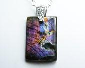 LARGE Purple Labradorite Necklace, Large Labradorite Pendant, Rare Purple, Lavender, Pink, Orange, Gold, and Blue Flash, Sterling Silver