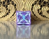 Polymer Clay Kaleidoscope Cane Turquoise, Purple, White No. 1058