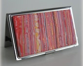 Business Card Case - Metal/Polymer Clay - Warm Color Stripes