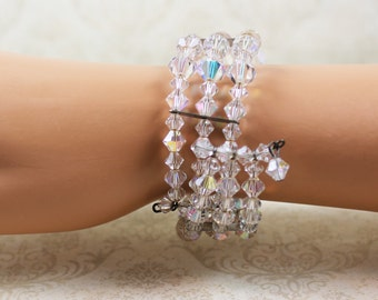 Vintage Clear Crystal AB Beaded Wrap Bracelet