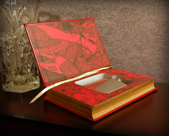 Hollow Book Safe & Flask (Leatherbound Edgar Allan Poe)