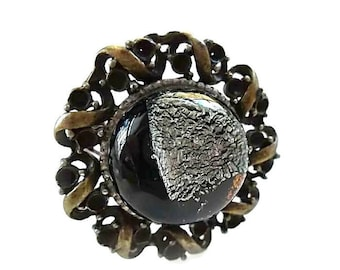 Dichroic Glass Ring/Fused Glass Ring/Vintage Brass Adjustable Ring/Silver and Black