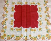 Handkerchief, floral hankie, red hankie with yellow daisies