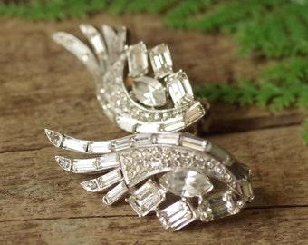 Large Rhinestone Clip Earrings Pronged - Wings Up Clear Crystal Rhinestones