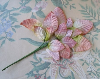 Ombre Velvet Leaf Spray Pink to Green - New Old Stock - For Hats, Bonnets, Crafting