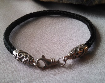 Black Horsehair Bracelet with Heavy Sterling Silver Ends