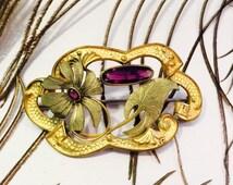 Mothers Day SALE Beautiful Art Nouveau Art Deco Facetted Purple Czech Glass Goldfill flower Vintage Broch Art Nouveau Jewelry