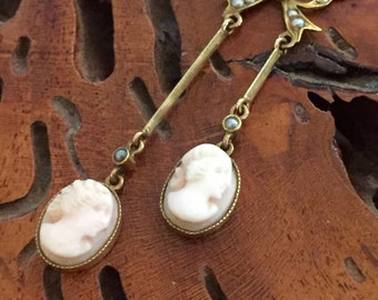 Beautiful Victorian Carved Shell Cameo 14kt Gold Pearl Vintage Antique Necklace