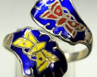 Scorpio Birthday SALE SALE Beautiful Butterfly Enamel Sterling Silver Vintage Bypass Ring