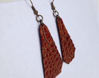 Boho Chic Ochre Leather earrings