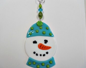 Glass Snowman  Christmas Ornament  keepsake
