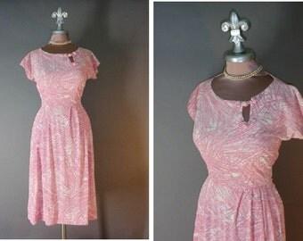 50s dress 1950s vintage PINK WHITE PEEKABOO white nylon jersey soft brushstrokes full skirt dress