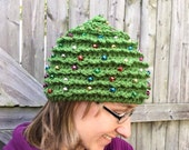 "CROCHET PATTERN HAT Christmas Tree in 5 Sizes Newborn to 22"" Beaded"