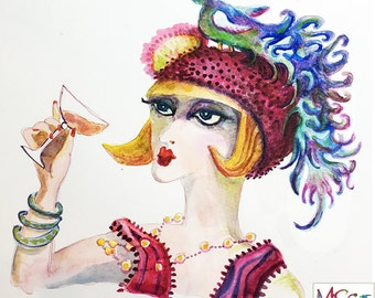 Original Watercolor - 7x8 inches - Flapper Girl with Champagne cocktail and her favorite bird Hat - Daily painting Number 72