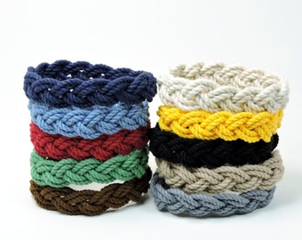 Narrow Nantucket Style Rope Bracelet 10 Nautical Colors