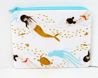 Small Zipper Pouch, Mermaid Swim in Natural, Heather Ross Fabric