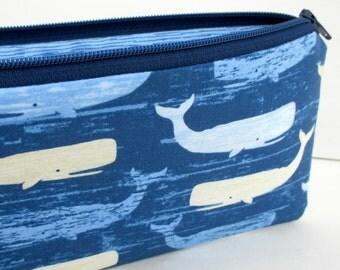 Whale Zippered Pencil Pouch, Beach Rules, Whales Ocean Blue