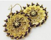 SALE Purple and Gold Earrings - Purple Jewelry - Womens Earrings - Amethyst Earrings - Fashion Jewelry - Statement Earrings - Gold Earrings